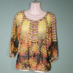 Fig and Flower Sheer Contrasting Print Blouse